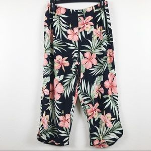 Tropical Floral Print Cropped Pants
